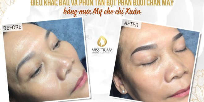 Before and After Results of Old Eyebrow Treatment - Sculpting And Spraying Beautiful Powder For Guests 1