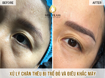 Before And After Handling Red Eyebrow Embroidery And Sculpting Queen Eyebrow 1
