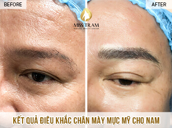 Before And After Sculpture Male Eyebrows Using Fine Ink 1