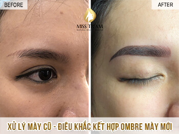 Before and After Remaining Your Old Eyebrow - Sculpting Combination of New Ombre Eyebrow 1