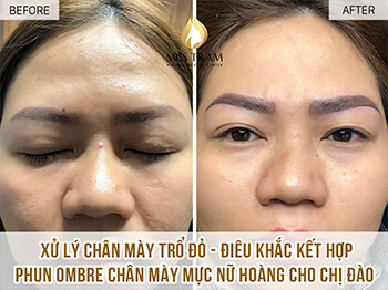 Before And After Treatment Of Red Eyebrow Sculpting - Ombre Sculpture And Spray 1