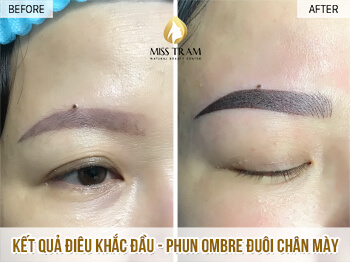 Before And After Repairing Old Eyebrows - Sculpting And Spraying Ombre Beautiful Eyebrows 1