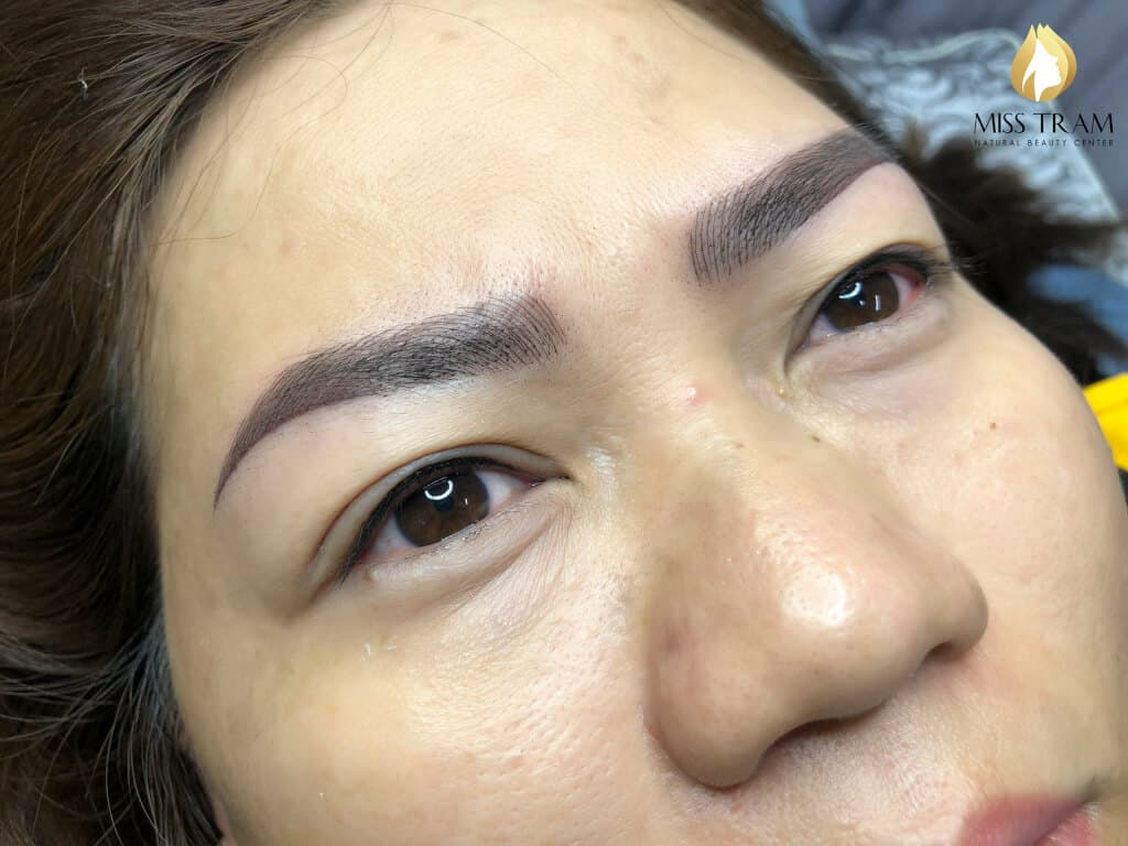 Before And After Processing Red Eyebrow - Sculpture And Spray Ombre 5