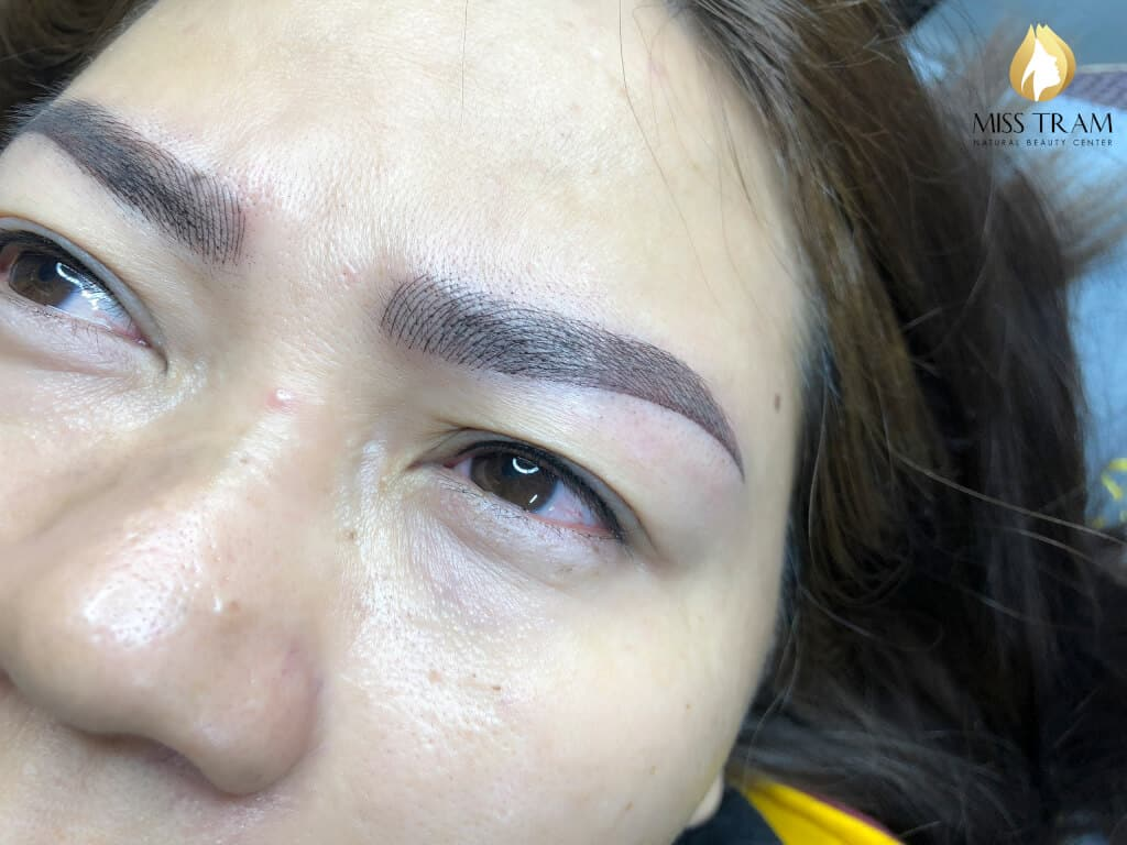 Before And After Processing Red Eyebrow - Sculpture And Spray Ombre 6