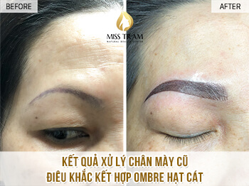 Before And After Processing Old Eyebrows - Sculpted Combination Of Ombre New Sand Grain Eyebrow 1