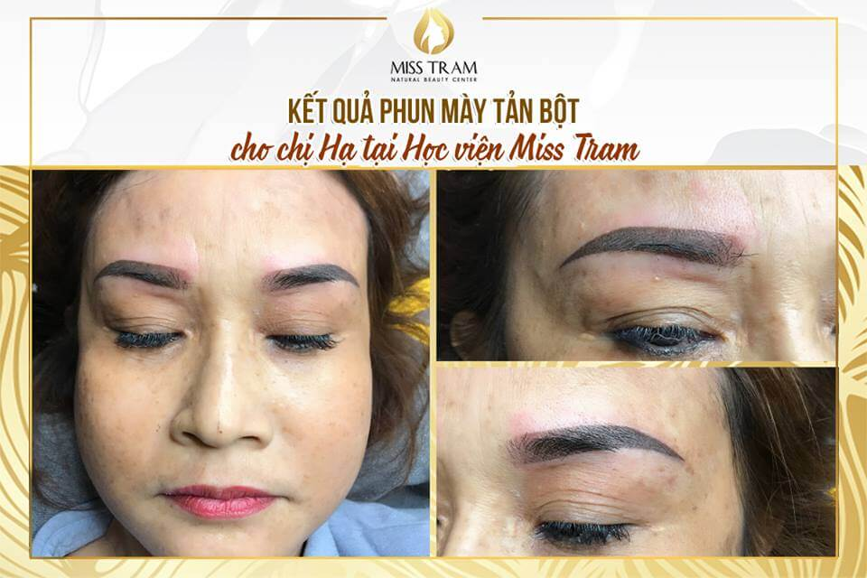 Super Fine Powdered Eyebrow Spraying Results For Guests Made by Students 2