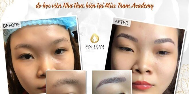 Results of Sculpting Eyebrows by Students at Miss Tram Academy 1