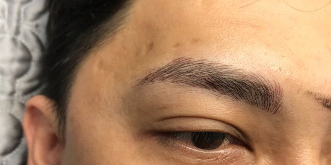 My Huong model on male eyebrow sculpture picture 1