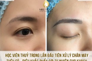 Ms. Thuy on the model Processing old embroidered eyebrows into eyebrows Sculpting with natural fibers - Excellent first model
