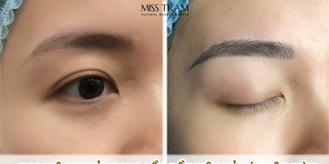 Ms. Thuy put on the model Handling old embroidery eyebrows into eyebrows Sculpting natural fibers - Beautifully excellent first sample