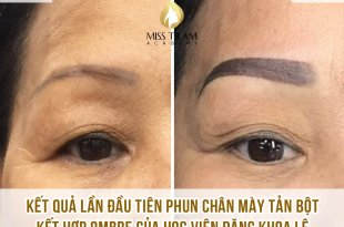 Student Dang Khoa Le first sample of Tan Powder and Ombre eyebrow spray