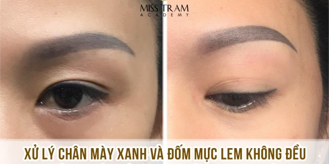 Practitioner Anna Kim Vu locks professional eyebrows on the model Treatment of blue eyebrows + uneven color spots into natural brown brown Ombre eyebrows