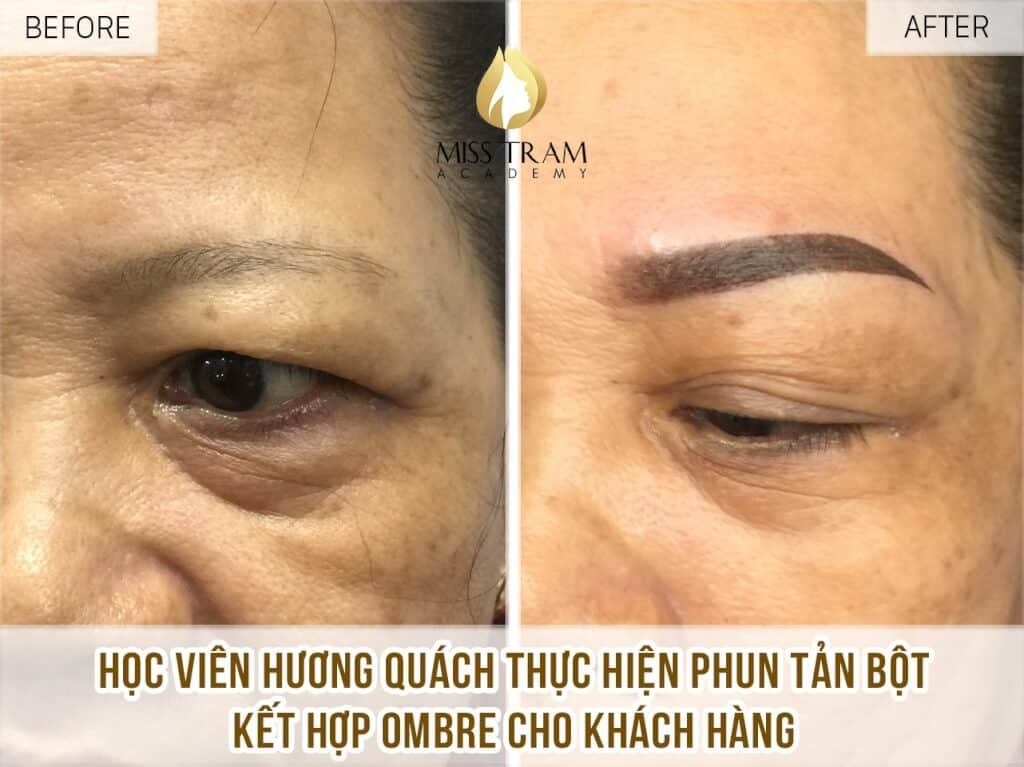 Student Huong Quach professionally Sculpted Embroidery Sculpting Be confident on the first spray pattern of Ombre powder