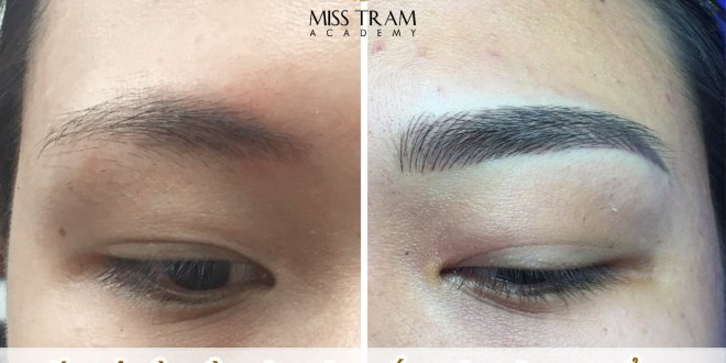 Practitioner Phuong, the first model, sculpted 9D eyebrow with natural fibers