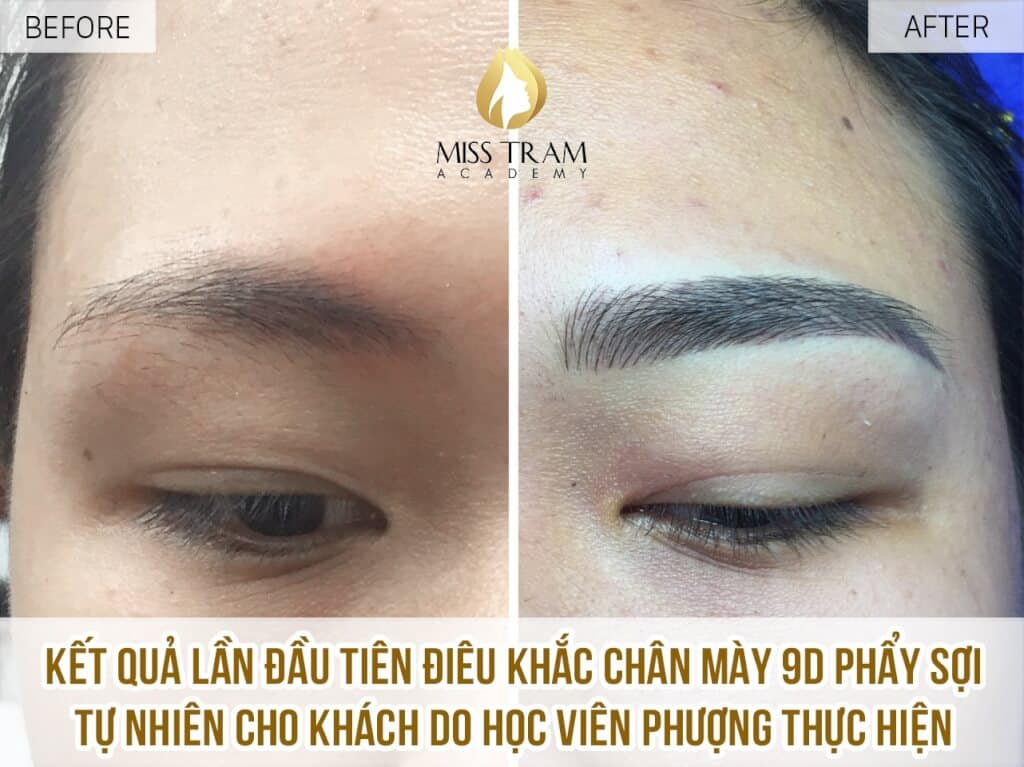 Practitioner Phuong made the first model. Sculpting 9D eyebrows with natural fibers