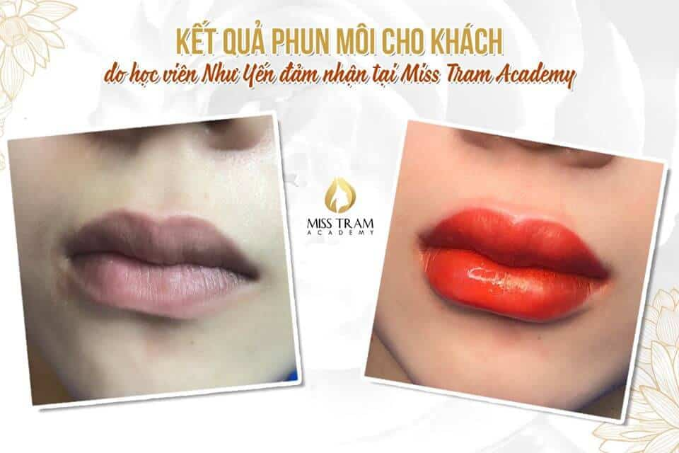 Results Of Beautiful Lip Spray For Guests Practiced By Students 2