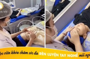 Students of the skin care course practice their skills every day